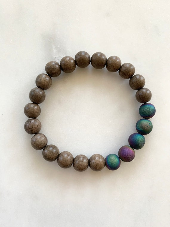 Beautiful Frosted Titanium Rainbow AGATE Healing Beads w/Gray Wood Beaded Bracelet// Stacking Bracelet// Statement Bracelet// Chakra Healing