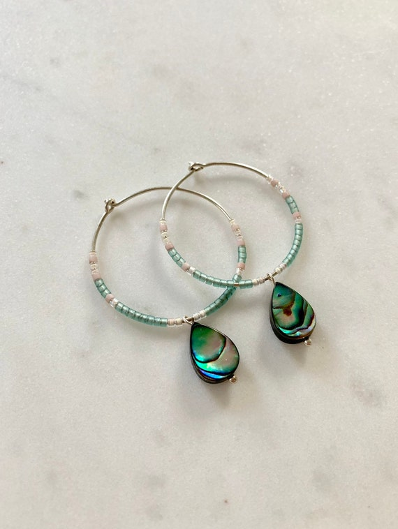 Teal + Pink Glass Beaded + Dangle ABALONE Shell Sterling Silver HOOP Earrings/ Earrings// Hoops/ Trendy Hoops// Beaded Earrings/ Nautical