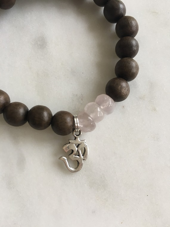 Beautiful Faceted ROSE QUARTZ Healing Beads + Sterling Silver OM Charm w/ Natural Gray Wood Beads// Healing Bracelet// Charm Bracelet/ Love