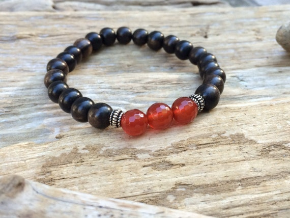 Round Wood Beaded Bracelet with Faceted Carnelian Healing Beads & S.Silver Beads//B.J.B.A.// MEN'S BRACELET// Unisex Bracelet