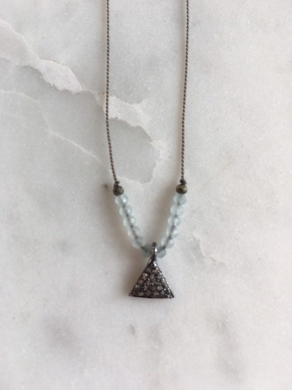 DIAMOND Sterling Triangle Charm + Blue Chalcedony GEM Drop Healing NECKLACE w/ Faceted Briolette Bead on Silk Cord// Layering Necklace//