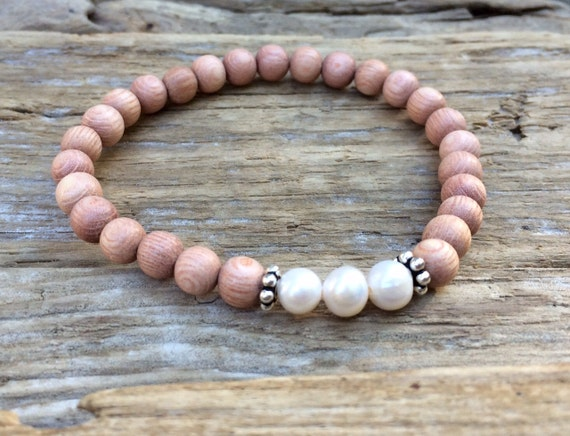 Rose Wood Beaded Bracelet with White Fresh Water Pearl Healing Beads & S.Silver// Statement Bracelet// Stacking Bracelet// JUNE BIRTHSTONE