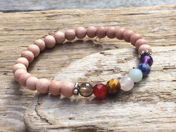Rose Wood Beaded Chakra Bracelet with Genuine Faceted Healing Crystal Beads and Sterling Silver Beads// Chakra Bracelet// Healing Bracelet