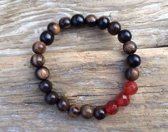 Faceted CARNELIAN Healing Beads w/Tiger Ebony Wood Beaded Bracelet// Healing Bracelet// Stacking Bracelet// Confidence// Transformation