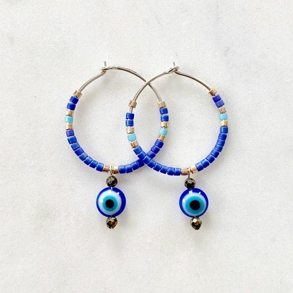 EVIL EYE + Egyptian Blue Glass + Pyrite Beaded Sterling Silver HOOP Earrings// Earrings/ Hoop Earrings/ Trendy Hoops/ Evil Eye Jewelry