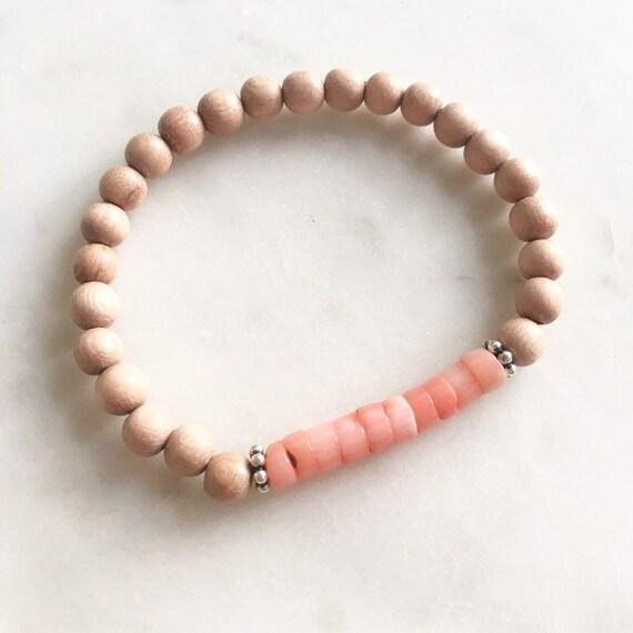 Genuine PINK CORAL Healing Beaded Bracelet w/Rose Wood + SS Beads/ Beaded Bracelets/Stacking Bracelet/ Nautical Bracelet/ Statement Bracelet