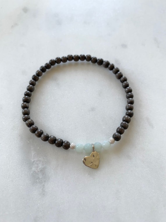 Stunner Collection> AMAZONITE Healing Beads + Sterling Silver Heart Charm w/Gray Wood Beads/ Healing Bracelet// Charm Bracelet/ Love Stones