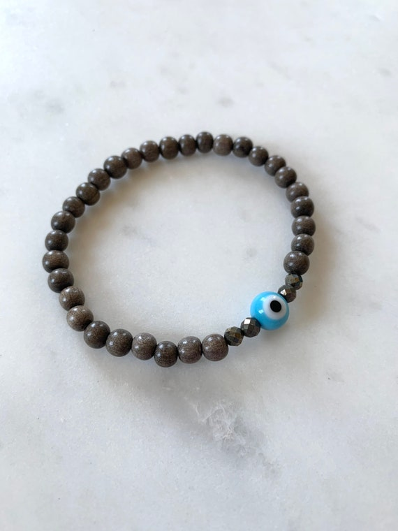 Powder Blue Glass EVIL EYE w/ PYRITE Healing Beads w/Gray Wood Beaded Bracelet/ Stacking Bracelet/ Statement Bracelet/ Healing/ Protection