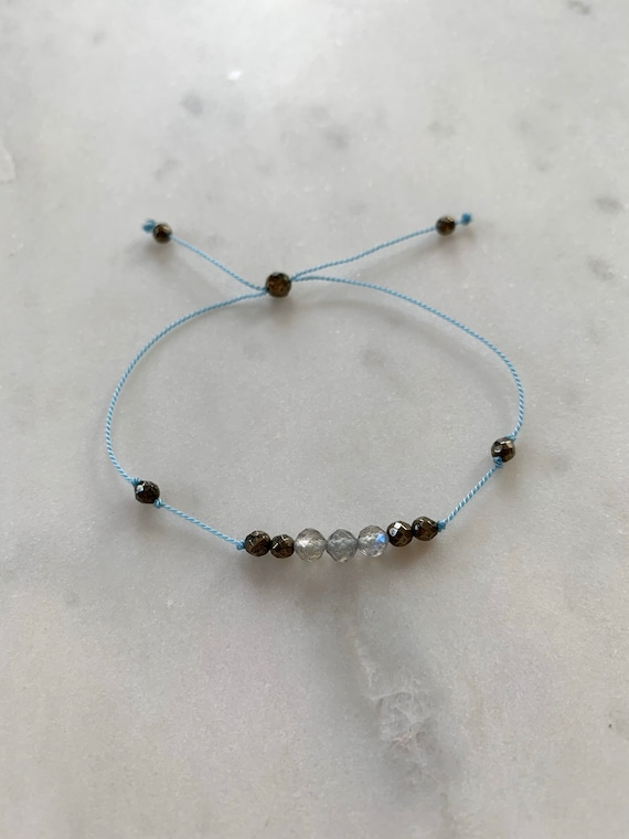 GODDESS Collection> LABRADORITE+ Pyrite Healing Beads// Faceted Gemstones// Minimalism// Adjustable Nylon Bracelet// Layering// Pop of Color
