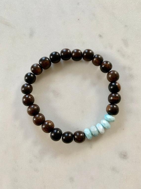 Faceted LARIMAR Healing Beaded Bracelet with Tiger Ebony Wood Beads// Statement Bracelet// Stacking Bracelet// Healing Bracelet// Larimar
