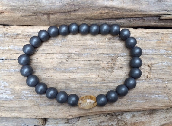 Frosted Hematite Beaded Bracelet with Faceted Citrine Healing Bead// B.J.B.A.// MEN'S BRACELET// Healing Bracelet// Unisex Bracelet