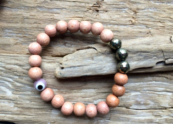 Faceted PYRITE Healing Bead + Protective Glass Evil Eye Bead w/Rose Wood Beaded Bracelet// Statement Bracelet/ Healing Bracelet// PROTECTION