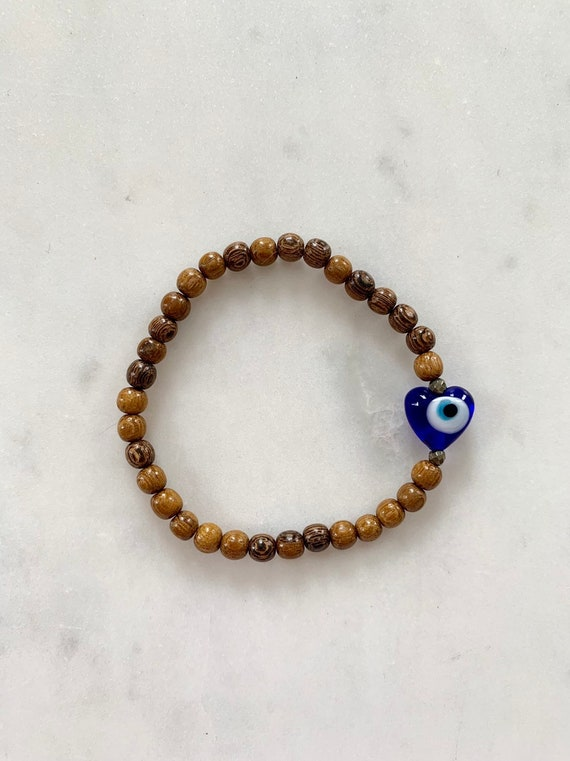 Beautiful Glass EVIL EYE w/ PYRITE Healing Beads w/Robles Wood Beaded Bracelet/ Stacking Bracelet/ Statement Bracelet/ Healing/ Protection