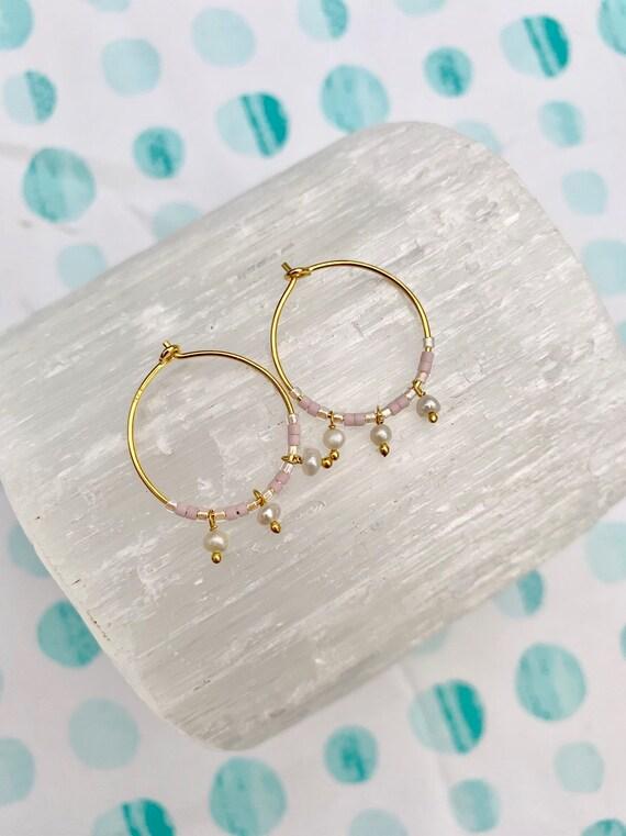 Pink Glass Beaded + Dangle PEARL Gold Vermeil Sterling Silver HOOP Earrings Hoop Earrings/ Trendy Hoops/ Beaded Earrings/ Nautical Jewelry