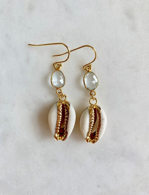 Beautiful GOLD-Dipped Goddess COWRIE Shell + Blue TOPAZ Earrings/ Earrings/ Shell Earrings/ Seashell Jewelry/ Nautical Jewelry/ Cowry Shells