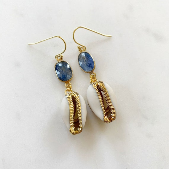 Beautiful GOLD-Dipped Goddess COWRIE Shell + KYANITE Earrings/ Earrings/ Shell Earrings/ Seashell Jewelry/ Nautical Jewelry/ Cowry Shells