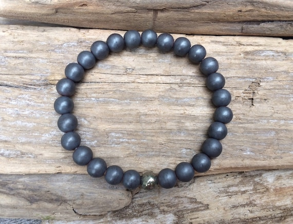 Frosted Hematite Beaded Bracelet with Polished or Faceted Pyrite Healing Bead// B.J.B.A.// MEN'S BRACELET// Healing Bracelet/Unisex Bracelet