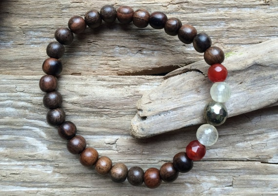 CONFIDENCE ~Positive Mantra Bracelet~ Wood Bracelet with a Mix of Semi-Precious Healing Stones (Carnelian, Citrine, and Pyrite)