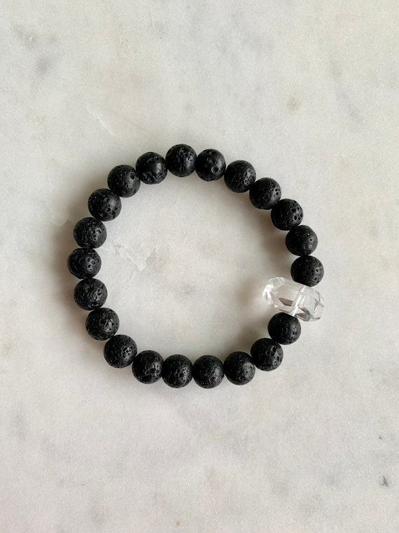 Faceted QUARTZ + LAVA Rock Healing Beaded Bracelet// Statement Bracelet// Healing Bracelet// Stacking Bracelet// Diffuser Bracelet// Quartz