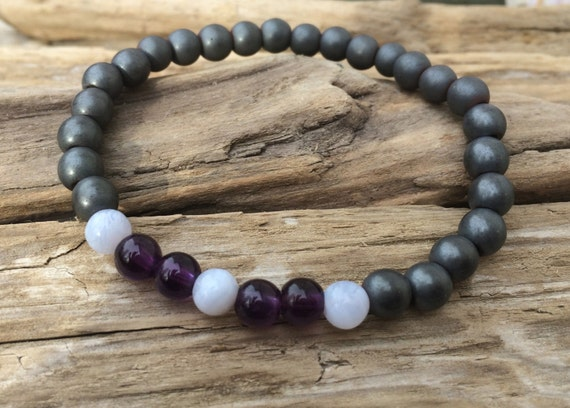 RELEASE ADDICTIONS/ OVERINDULGENCES ~Positive Mantra Bracelet~ Frosted Hematite Bracelet << Amethyst, Blue Lace Agate, + Hematite>> Healing