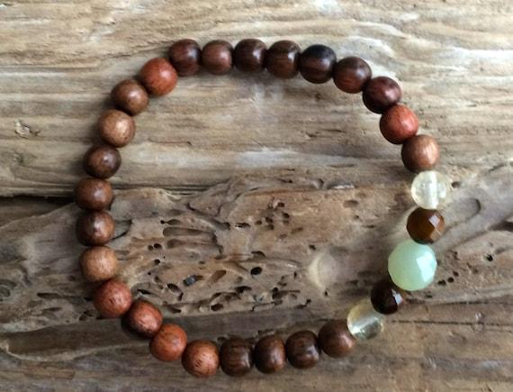 ABUNDANCE ~Positive Mantra Bracelet~ Wooden Bracelet w/Semi-Precious Healing Stones <<Citrine, Jade, and Tiger's Eye>> Prosperity Bracelet