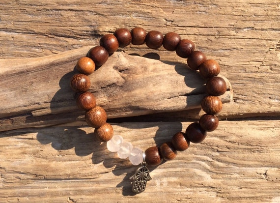 Wood Beaded Bracelet w/ Faceted Rose Quartz Healing Beads Finished with Sterling Silver Hamsa Hand Charm// Charm Bracelet// Healing Bracelet