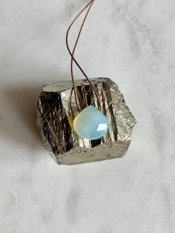 Peruvian Blue Opal GEM DROP Healing NECKLACE with Faceted Briolette Bead on Silk Cord// Healing Necklace// Birthstone Jewelry// Opal