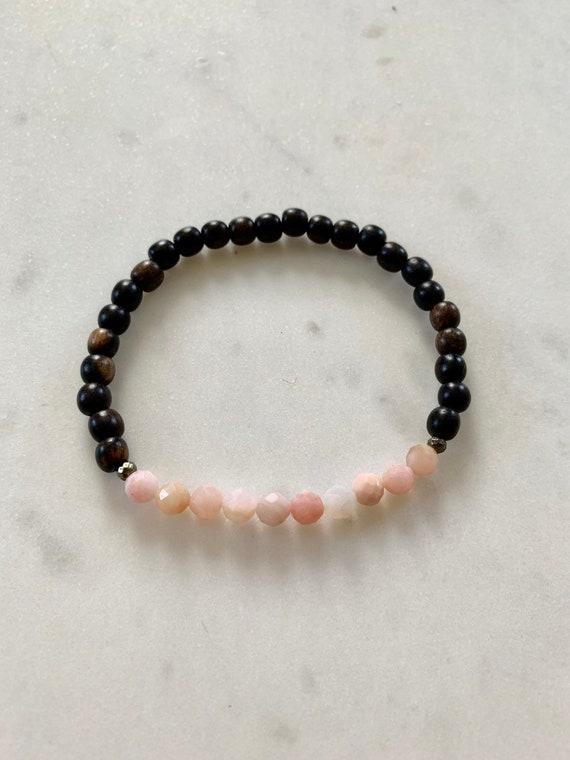 Itty Bitty Faceted PINK OPAL + Pyrite Healing Bracelet Tiger Ebony Wood Beads/ Statement Bracelet/ Healing Bracelet/ October Birthstone