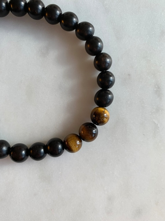 Polished TIGER'S EYE Healing Bracelet w/ Tiger Ebony Wood Beads/ B.J.B.A./ MEN'S Bracelet/ Healing Bracelet/ Unisex Bracelet/ Anxiety Relief