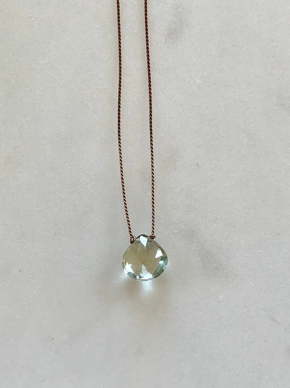 Green AMETHYST GEM Drop Healing NECKLACE w/ Faceted Briolette Bead on Silk Cord// Layering Necklace// Healing Necklace// Birthstone Jewelry