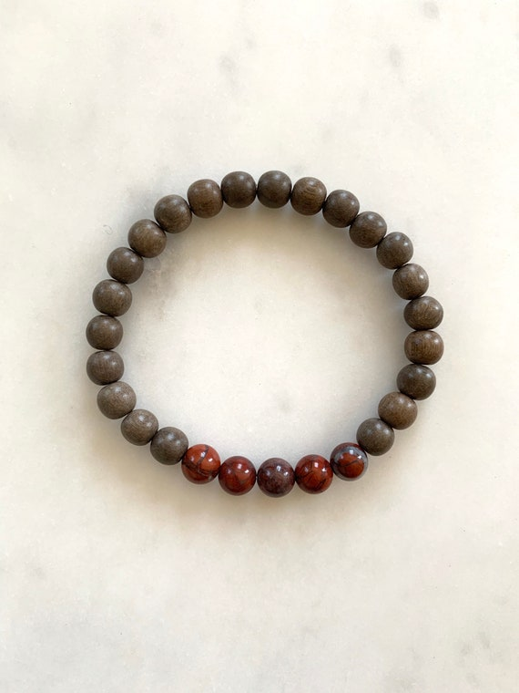 Polished POPPY JASPER Healing Beads w/Gray Wood Beaded Bracelet// B.J.B.A.// MEN'S Bracelet// Healing Bracelet// Unisex// Jasper// Grounding