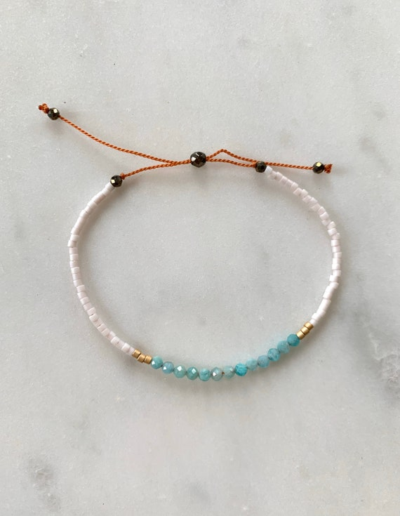 GODDESS Collection> AMAZONITE Healing Beads w/Matte Gold + Opal White Glass Beads// Adjustable Nylon Bracelet// Layering// Pop of Color