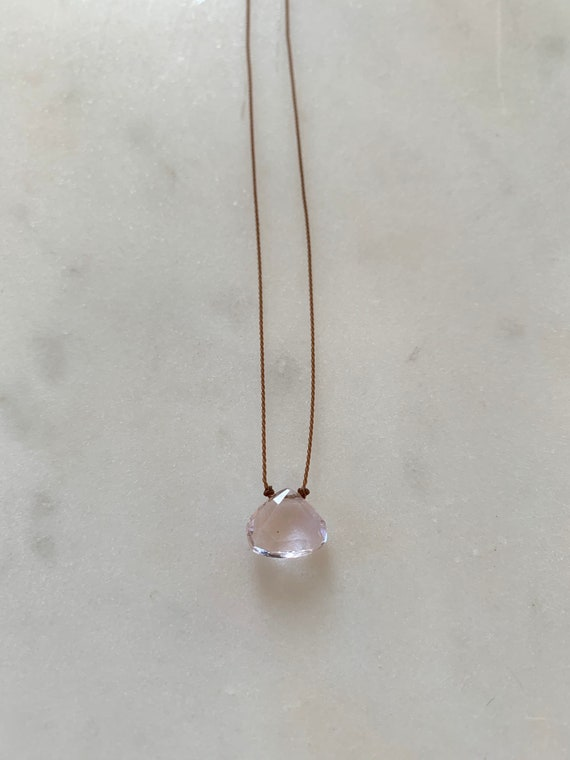 KUNZITE Gem Drop Healing NECKLACE w/Faceted Briolette Bead on Nylon Cord w/Sterling Clasp// Layering Necklace// Healing Necklace// Heart