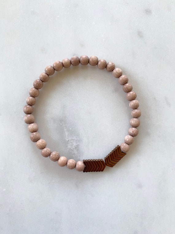 Matte Chevron HEMATITE Healing Beaded Bracelet w/ Rose Wood Beads// Healing Bracelet// Stacking Bracelet// Grounding Stone
