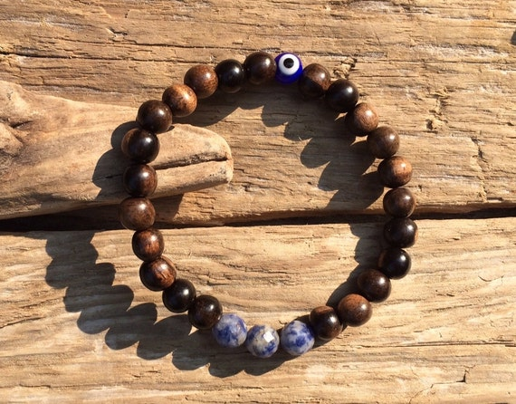 Faceted SODALITE Bead and Protective Glass Evil Eye Healing Beads w/ Robles Wood// B.J.B.A.// MEN'S BRACELET// Healing Bracelet// Unisex