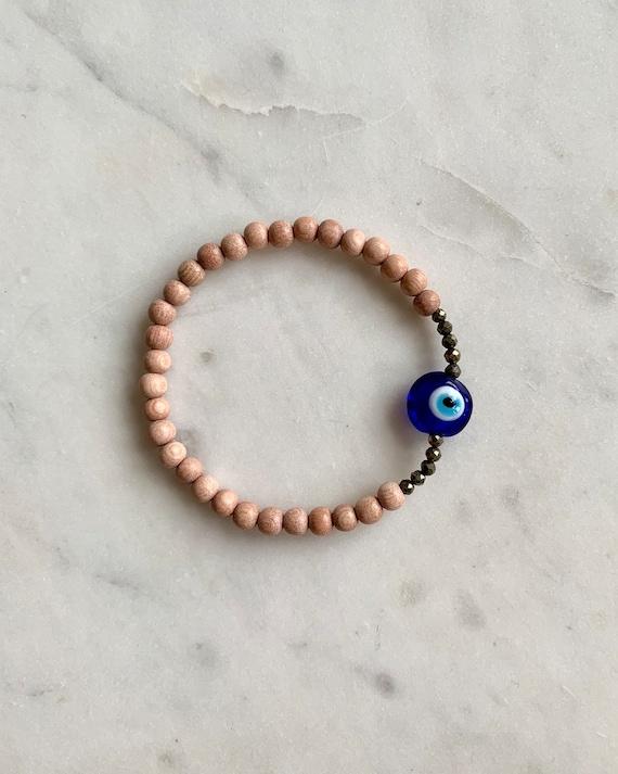 Beautiful Glass EVIL EYE w/ PYRITE Healing Beads w/Rose Wood Beaded Bracelet// Stacking Bracelet// Statement Bracelet// Healing// Protection