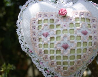 Heart hand embroidered white Hardanger fabric and lime green linen