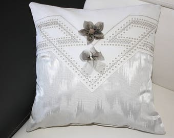 grey moire and hand embroidered cushion