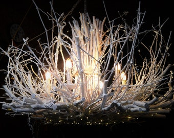 The Queen - 6 Light - White Chandelier - Rustic Chandelier - White Twig Chandelier - Branch Light - Handcrafted - OOAK - White Twig Light