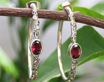 c62485872 30mm Sterling Silver Garnet Hoop Earrings, Post Back, Push Back. Stud  Earrings ER-916-DG