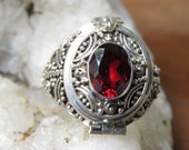 Sterling Silver, Poison, Locket, Keepsake Ring, Garnet Stone LR-794-DG