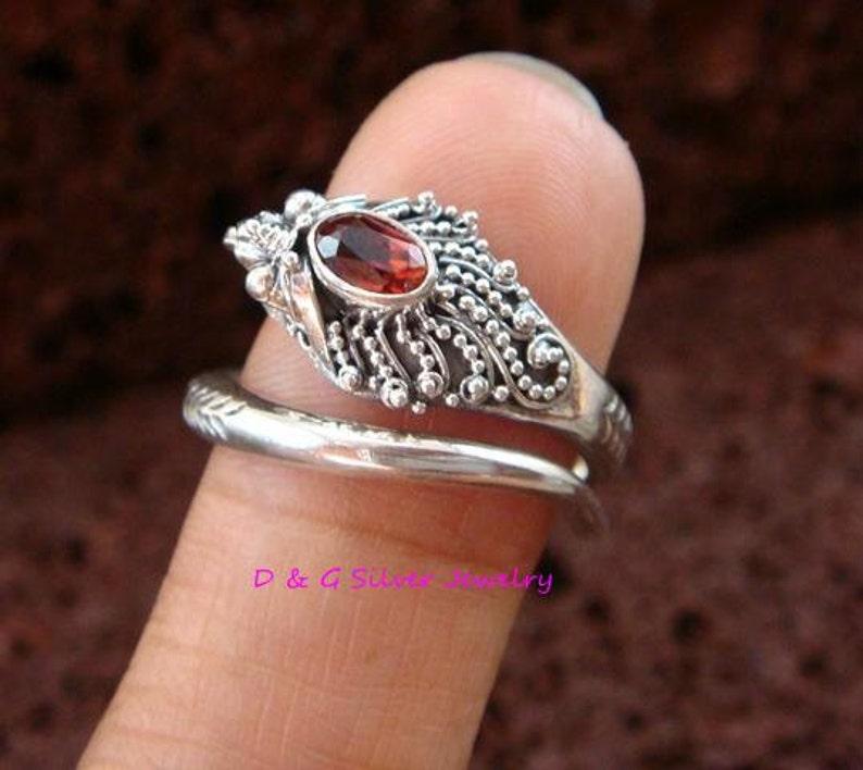 Bali Sterling Silver Gothic Garnet Dragon Snake wGarnet Ring RI-303-DG