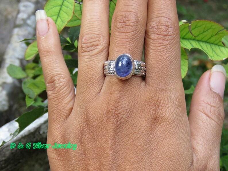 Sterling Silver Genuine Tanzanite Cabochon  Ring RI-599-DG