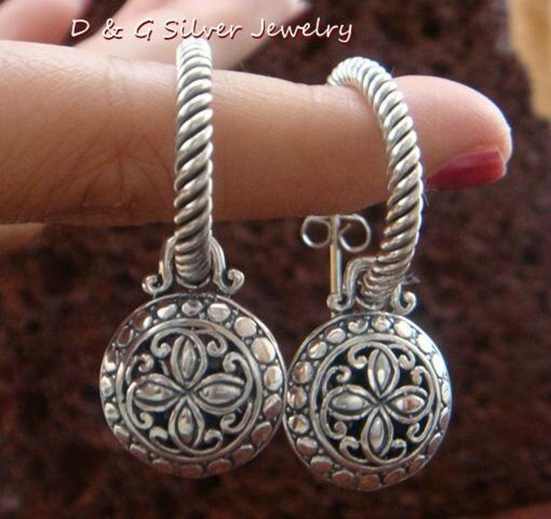 Limited Edition Sterling Silver Bali Dangle Earrings SE-223-DG