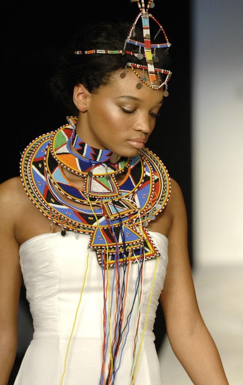 Handmade AFRICAN Maasai set Tribal set African jewelry set image 0