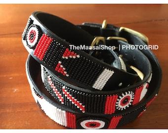 Black and Red Handmade Dog Collar.Leather Dog Collar.Tribal Dog Collar.Maasai Dog Collar.African Dog Collars.Beaded Dog Collars.Dog Gift.