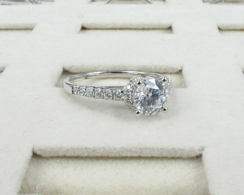 Handcrafted CZ Engagement Ring Sterling Silver 14K Gold #MR078 Simulated Diamond Made to Order