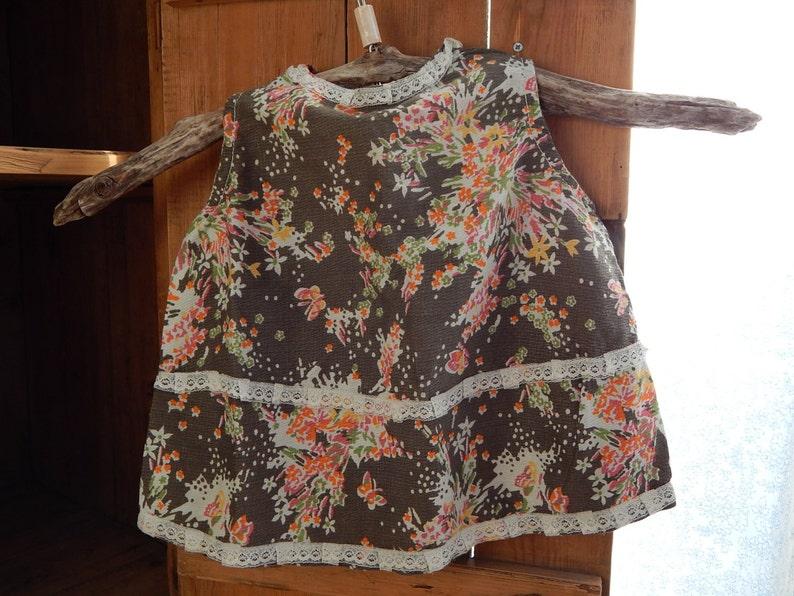 Vintage Cotton Baby Dress Retro Homemade Flower Dress Kid Summer Sleeveless dress Baby Dress