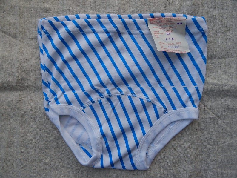 Soviet Vintage Underwear Boys Cotton Underpants Unused with Factory Tag White Underpants with Blue stiped Pattern 100/% Cotton Teenager Boy