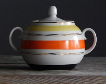 Soviet Vintage Sugar Bowl 1970-s / USSR/ Retro Home Decor Hand Painted